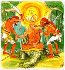 Mặc dù Ngài Mục Kiền Liên - đệ tử bậc nhất thần thông của Đức Phật nhưng Ngài vẫn phải chịu quả báo bị bọn cướp giết do tội bất hiếu trong tiền kiếp (ảnh minh họa)